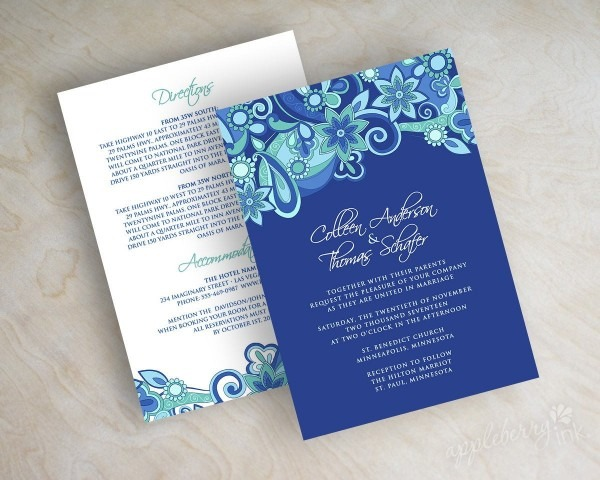 Contemporary Royal Blue Wedding Invite With Traditional Floral