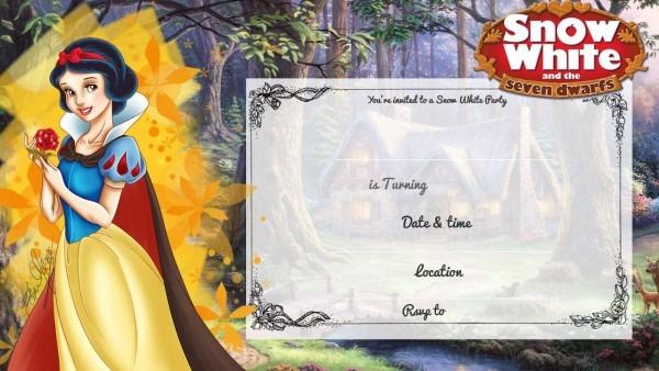 Cool Free Printable Snow White Birthday Invitation
