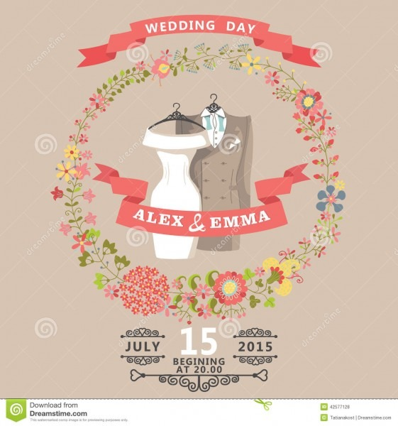 Cute Wedding Invitation With Wedding Wear And Floral Wreath Stock