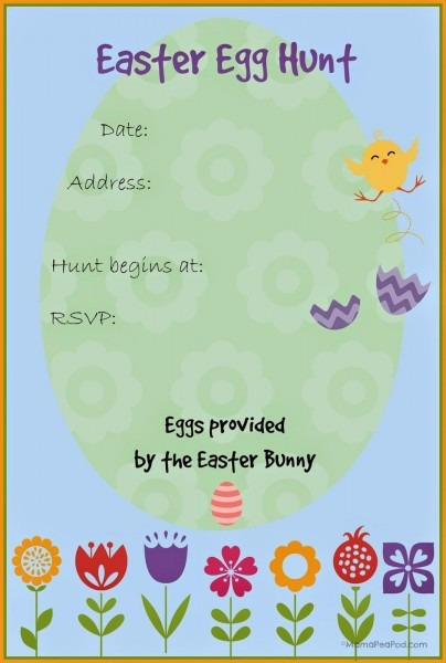 Free Printable Easter Egg Hunt Invitation}