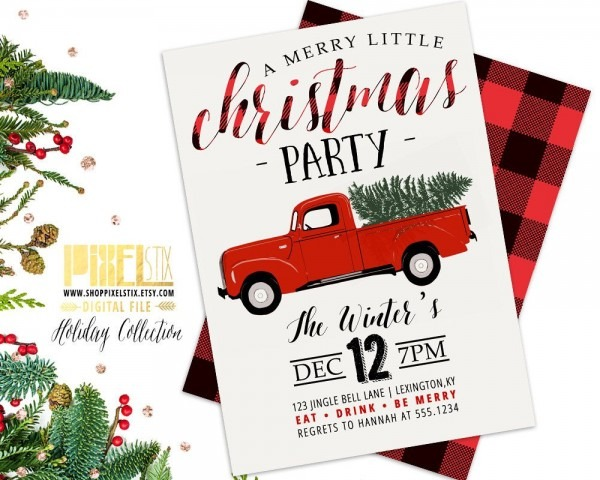 Christmas Party Invitation, Red Truck Invite, Retro Holiday Party