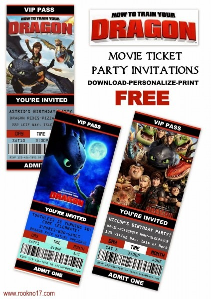 Free Printable Movie Ticket Style Invitations  How To Train Your