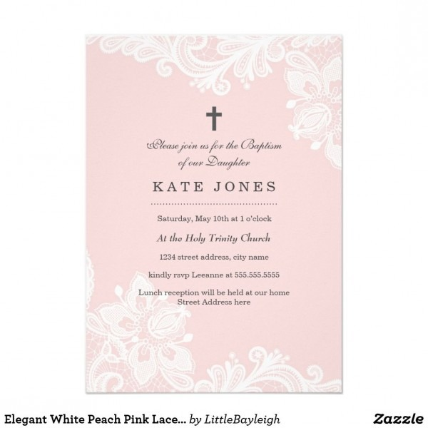Elegant White Peach Pink Lace Baptism Invitation