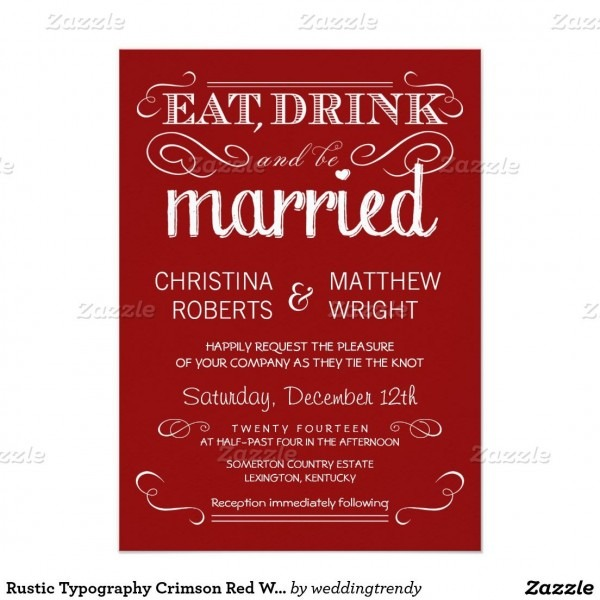 Rustic Typography Crimson Red Wedding Invitations 4 5  X 6 25