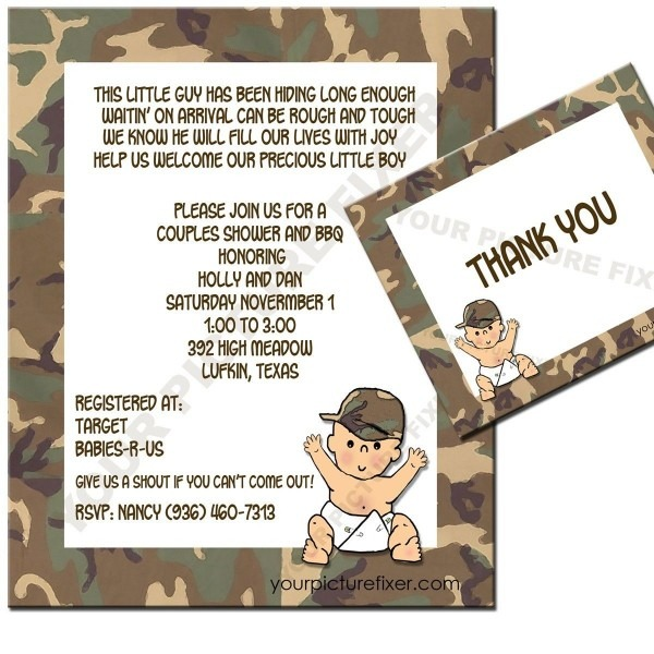 Camouflage Baby Shower Invitations