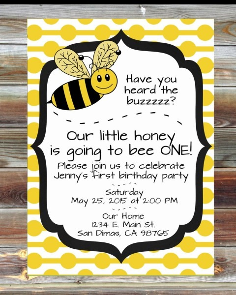 Bee Theme First Birthday Invitation