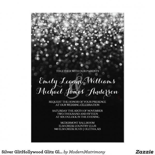 Silver Glithollywood Glitz Glam Wedding Invitation