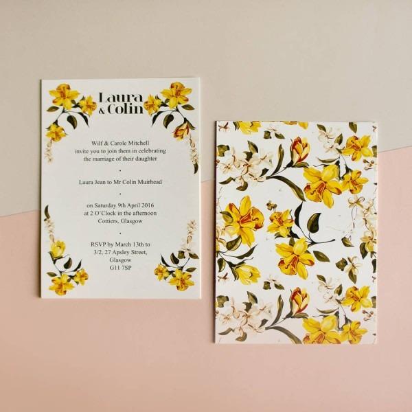 Daffodil Wedding Invitation By Skinny Malink With Background