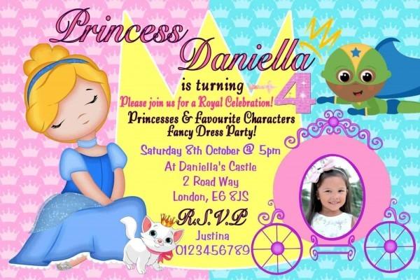 10 Personalised Princess & Superhero Party Invitations