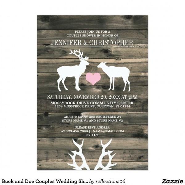 Buck And Doe Couples Wedding Shower Invitation