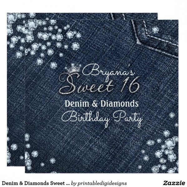 Denim & Diamonds Sweet 16 Crown Party Invitations