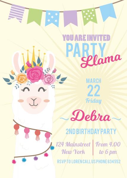 Llama Invitation  Llama Themed Party  Birthday Party  Printable