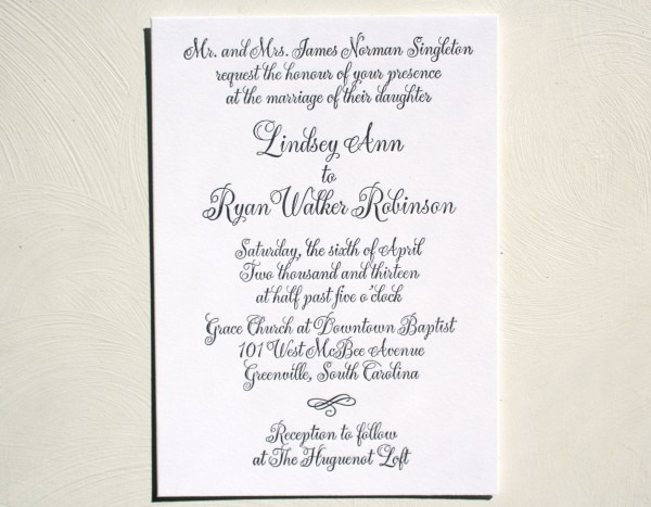 Black And White Classic Calligraphy Letterpress Wedding Invitation