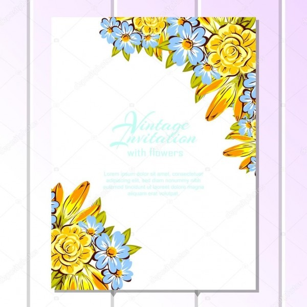 Blue And Yellow Wedding Invitation Card — Stock Vector © All