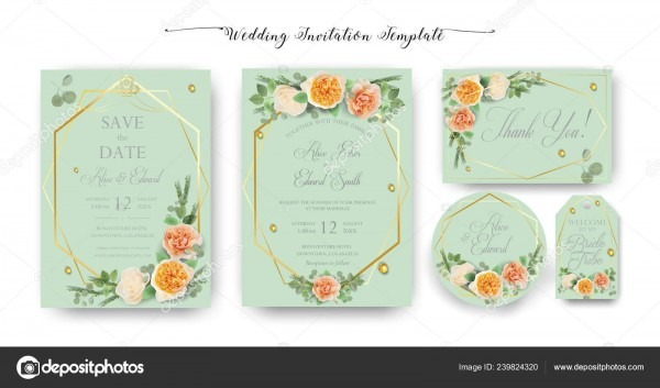 Floral Wedding Invitation Elegant Invite Thank You Rsvp Date