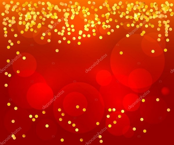 Red Background Poster Invitation Celebration Confetti Gold — Stock