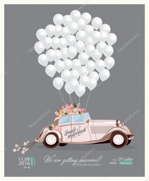 Vintage Wedding Invitation With Just Married Retro Car And White