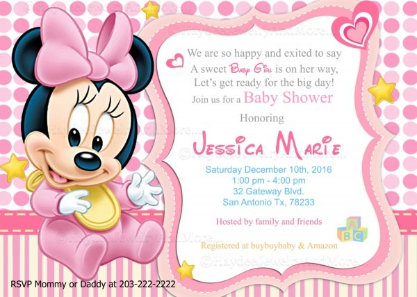Baby Shower  Disney Baby Shower Invitations  Disney Baby Shower