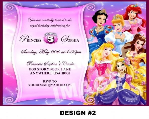 Disney Princess Party Invitations Birthday Printable Free Borders