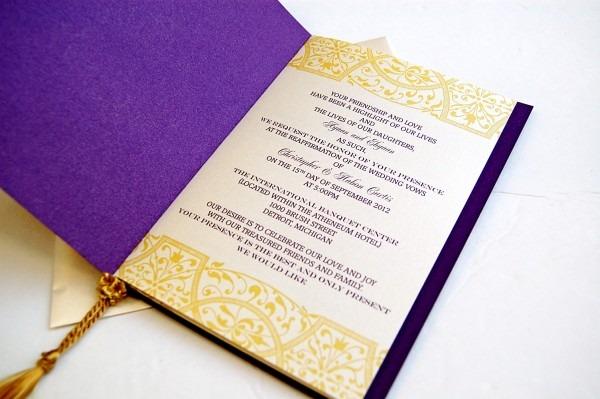 Purple And Gold Royal Wedding Invitations