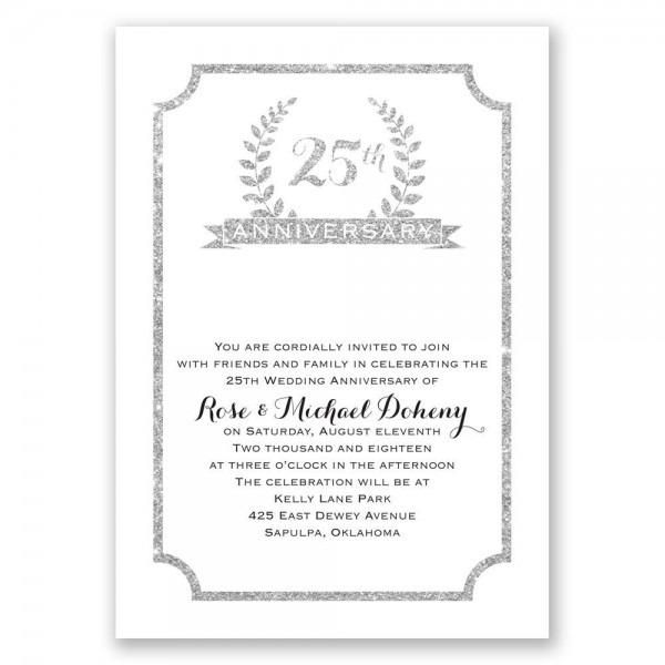 25th Crest Faux Glitter Anniversary Invitation