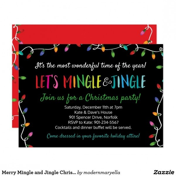 Merry Mingle And Jingle Christmas Lights Party Invitation