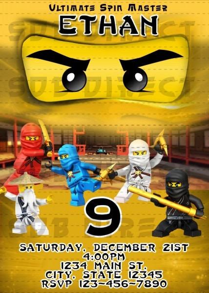 Lego Ninjago Party Invitations, Gold Ninjago Invitation, Ninjago