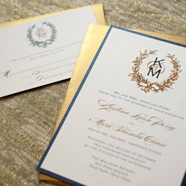 Navy Blue And Gold Wedding Invitations, Vintage Wreath Wedding