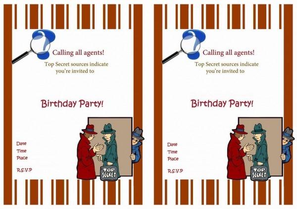 Spy Free Printable Birthday Party Invitations