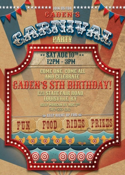 Carnival Invitation County Fair State Birthday Invitation Vintage