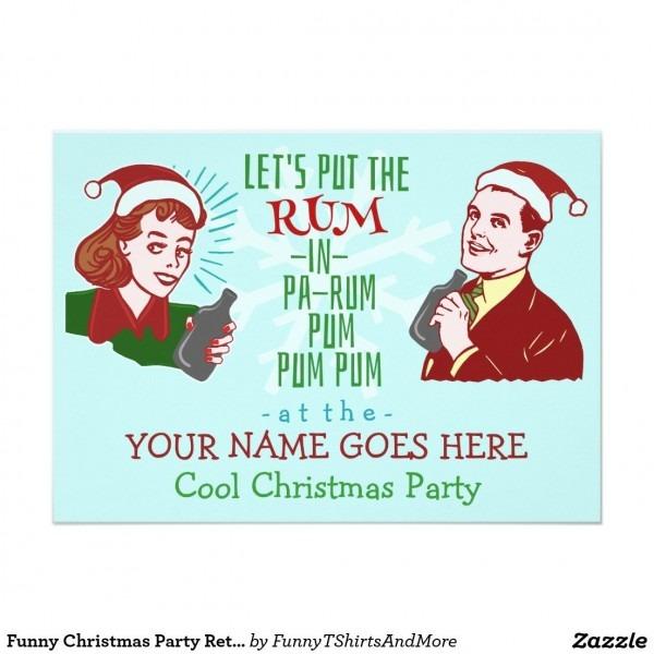Funny Christmas Party Retro Rum Adult Holiday V2 Invitation