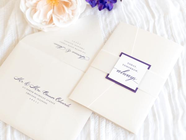 Elegant & Formal Pocketfold Wedding Invitation With Satin Ribbon