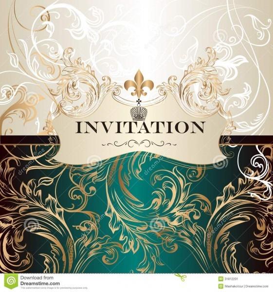 Elegant Invitation Card In Royal Style Stock Vector