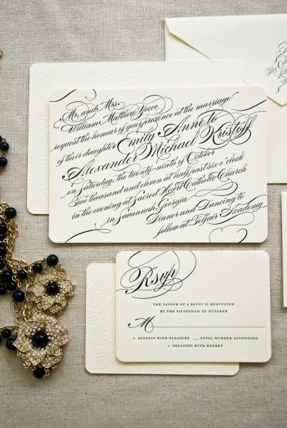 Calligraphy Style Letterpress Wedding Invitations