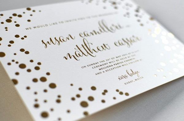 Invitations   Engaging Gold Foil Wedding Invitations Letterpress