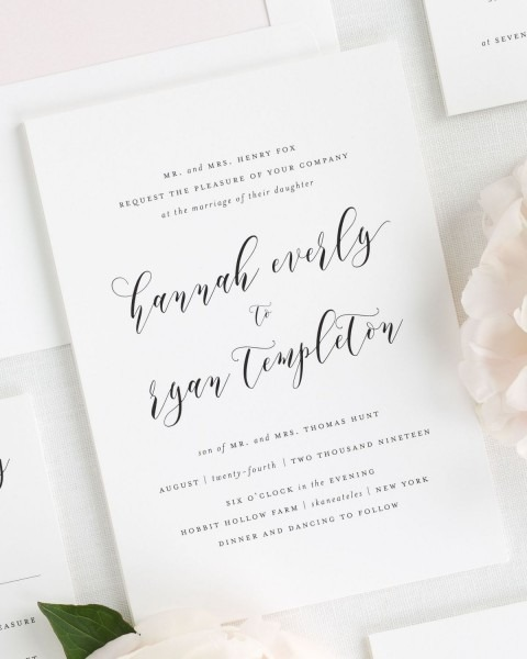 Simple Calligraphy Wedding Invitations In Light Pink – Wedding