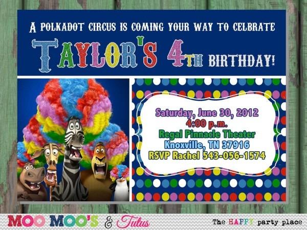 Printable Polkadot Circus Madagascar 3 Inspired Birthday