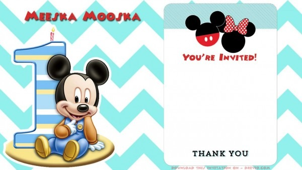 Blank Printable Mickey Mouse 1st Birthday