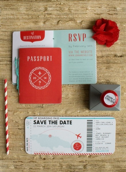 Destination Wedding Invitations Featuring Passport And Boarding