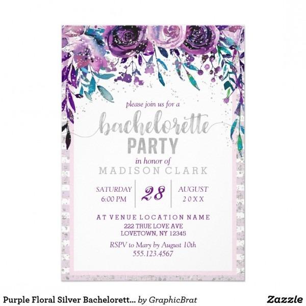 Purple Floral Silver Bachelorette Party Invitation