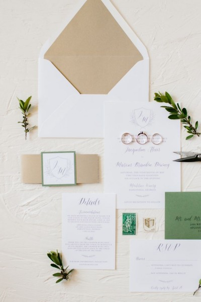 Tuscan Inspired Monogram Wedding Invitation With Bellyband In 2019