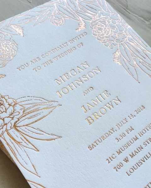 Rose Gold Foil Stamped Wedding Invitations On Lettra Cotton Paper