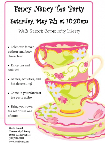 Fancy Nancy Tea Party – Registration Open!