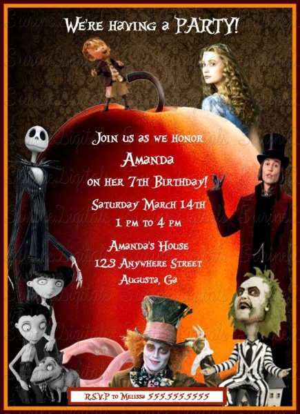 James And The Giant Peach Birthday Invitation, Tim Burton