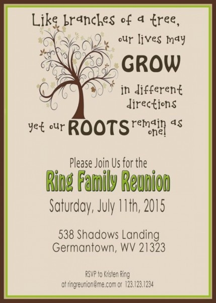 Family Lasts Forever Free Printable Reunion Invitation  Cards