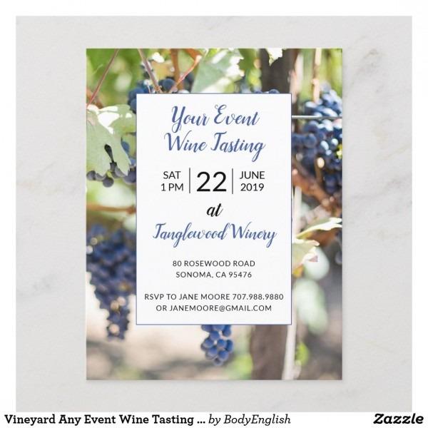 Vineyard Any Event Wine Tasting Party Invitation Postcard