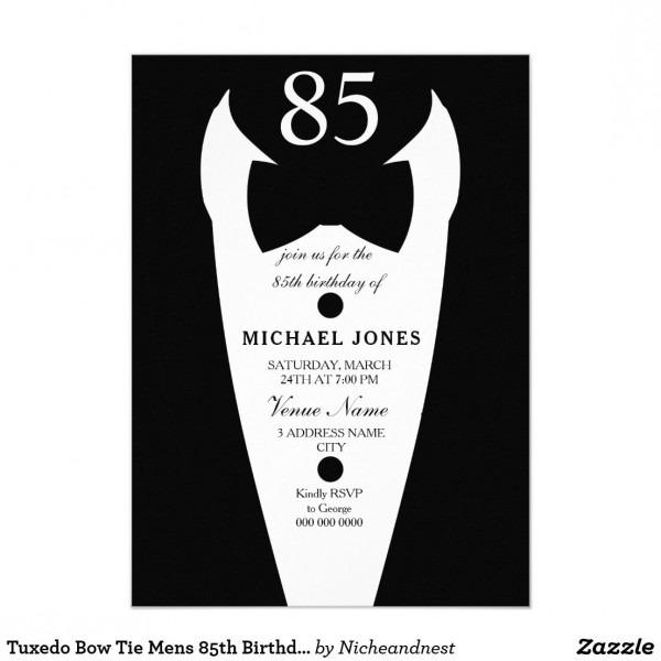 Tuxedo Bow Tie Mens 85th Birthday Party Invite