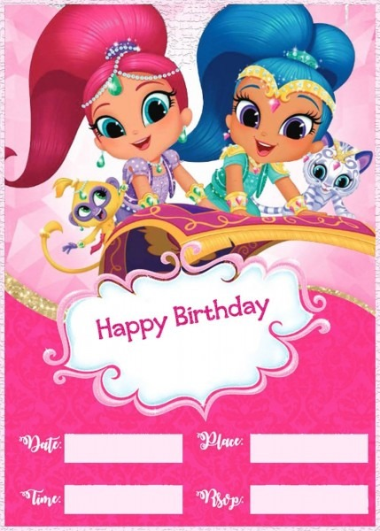 Shimmer And Shine Birthday Party Invitation Template