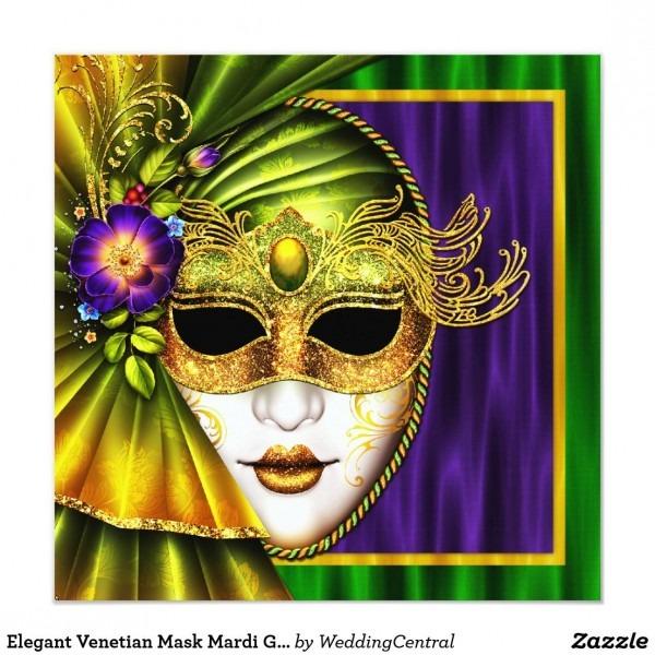 Elegant Venetian Mask Mardi Gras Wedding Invitation