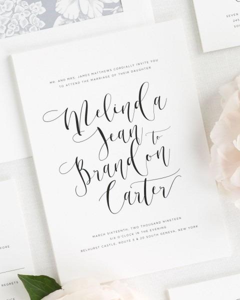 Flowing Calligraphy Wedding Invitations